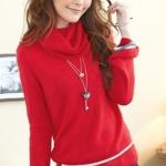 [Preorder] เสื้อกันหนาวแขนยาวคอสูงสีแดง Trifle collar long-sleeved the warm sweater