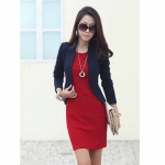 [Preorder] เดรสทำงานแฟชั่นแขนยาวเข้ารูปสีแดง (ไซส์ S - ไซส์ XXL) 2014 Spring and Autumn new Korean version was thin long-sleeved base skirt big yards temperament Slim dress