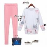 เซ็ตเสื้อแขนยาวเนื้อผ้า Poly+Cotton พิมพ์ลายกราฟฟิกโทนเทาชมพู ด้านข้างแต่งซิปเก๋ๆ มาพร้อมกางเกงSkinnyสีชมพูเ