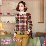 เสื้อเชิ๊ตแฟชั่นแขนยาวลายตารางสีแดง 2012 spring new Korean version of cultivating long-sleeved hook lace collar plaid shirt, Ms. Cotton shirts