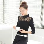 [Preorder] เสื้อแฟชั่นแขนยาวปกเชิ๊ตฉลุลาย สีดำ (ไซส์ S M L XL 2XL) 2016 Hitz temperament doll collar long-sleeved lace shirt shirt shirt blouses