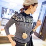 [Preorder] เสื้อแฟชั่นแขนยาวปักลวดลายช่วงบนของเสื้อสีเทา 2012 winter new retro embroidered lace court shall female semi-high-necked T-shirt shirt bottoming shirt repair