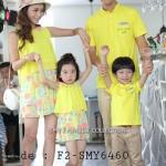 ชุดครอบครัว เสื้อครอบครัวสีเหลือง ชายเสื้อยืดคอตั้ง หญิงเดรสสั้นชีฟองแขนกุด เอวยางยืด กระโปรงลายดอก (ราคา 3 ตัว พ่อ แม่ ลูกสาว) - พร้อมส่ง