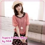 เดรสแขนกุดลายดอกไม้พร้อมเสื้อสีชีฟองตัวนอกแขนตุ๊กตาสีส้ม chiffon rose dress two-piece bud sleeve T (Preorder)