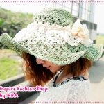 [Preorder] หมวกแฟชั่นปีกกว้างประดับดอกไม้สีเขียว summer 2012 the new special hole Floral baskets empty piping rattan hat