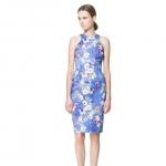 [Preorder] เดรสแฟชั่นแขนกุดสไตล์ยุโรป ลายดอกไม้สีฟ้า The new big summer dress sexy halter European leg sleeveless halter dress printed dress women