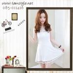 Dress074-เดรสแฟชั่นสีขาว เดรสแขนกุด เดรสผ้าซีฟอง มีซับด้านใน น่ารักๆจ้า อก 32 ((เดรสแฟชั้นพร้อมส่ง))