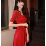 God is girl ชุดเดรสแขนสามส่วนคอยูผ้ายืดเนื้อดีสีแดง