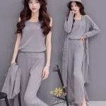 ชุดเซท 3 ชิ้น เสื้อแขนกุด+เสื้อคลุมตัวยาว+กางเกงขายาว เป็นผ้าไหมพรมเส้นเล็ก
