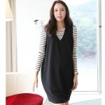 [Preorder] เดรสคลุมท้องแขนยาว พร้อมเอี๊ยมเก๋ๆ สีขาวดำ 2013 pregnant women spring Korean pregnant women two pregnant women skirt dress pregnant women skirt vest skirt long-sleeved