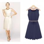 [Preorder] เดรสแฟชั่นแขนกุดพลีทรอบ แบรนด์ Zara สีน้ำเงิน 2013 summer new doll collar pleated waist was thin sleeveless chiffon dress children summer