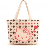 [Preorder] กระเป๋าผ้าเก๋ๆ Hello Kitty ลายจุดสีครีม Value Special hello kitty cute shoulder bag handbag bag creative cartoon Hello Kitty canvas bag