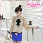 [Preorder] เสื้อแฟชั่นแขนยาวลายจุดสีกากี 2012 new summer Korean wave point doll with chiffon shirt collar Department (3 colors)