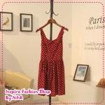 เดรสแขนกุดลายจุดสีแดง 2012 spring and summer the subsection sweet retro wave point doll collar dot suspenders Tunic Dress