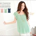 ♥♥ สีเขียวพร้อมส่ง ♥♥ เสื้อผ้าแฟชั่น เนื้อผ้าชีฟองสวยๆ คอกลมระบายช่วงแขน อัดพลีสช่วงลำตัว สวยน่ารักๆ