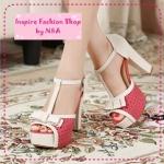 [Preorder] รองเท้าส้นสูงแฟชั่นฉลุลายจุดสีชมพูเข้ม 2012 new sweet bow hollow rough with waterproof high-heeled