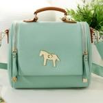 [Preorder] กระเป๋าแฟชั่นสะพายข้างสไตล์ retro สีเขียวอ่อน 2013 new Korean candy colored retro pony female Shoulder Messenger bag tide