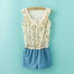 [Preorder] จั๊มสูทแฟชั่นแขนกุดลายนกและดอกไม้ สีฟ้า (Size S M L) 2014 summer new Korean women's fashion stitching lace chiffon piece pants shorts