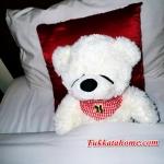 ตุ๊กตาหมีหลับ ตัวเล็ก น่ารัก น่ากอด ขนาด 45 เซ็นติเมตร สีขาว