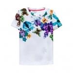 [Preorder] เสื้อแฟชั่นแขนสั้นสกรีนลายสีสดใส (Size S M L) 2014 summer new European leg big floral print short sleeve t-shirt tops women