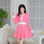 [Preorder] เดรสทำงานแฟชั่นสไตล์เกาหลีประดับโบว์ สีชมพู (ไซส์ M L XL XXL) 2014 Hot Korean fashion fresh and sweet temperament lady was thin Slim A word skirt dress