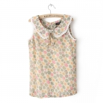 [Preorder] เสื้อแฟชั่นแขนกุดลายดอกไม้ สีชมพู Early summer T-shirt new summer sweet pastoral style sunflowers doll sleeveless vest shirt collar shirt bottoming shirt