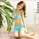 บิกินนี่กระโปรงลายทางสีฟ้าอ่อน Striped tie neck bikini two groups Tokyo Fashion 100% (Preorder)