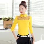 [Preorder] เสื้อแฟชั่นแขนยาวปกเชิ๊ตฉลุลาย สีเหลือง (ไซส์ S M L XL 2XL) 2016 Hitz temperament doll collar long-sleeved lace shirt shirt shirt blouses