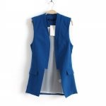[Preorder] เสื้อกั๊กแฟชั่นสไตล์ยุโรป แบรนด์ Zara สีน้ำเงิน zara new European and American women's vest 2013 Slim candy-colored stitching vest waistcoat jacket suit models
