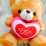 """ตุ๊กตาหมีบอกรัก กอดหัวใจ ปักลาย """" Love """" ขนาด 40 CM สีน้ำตาลอ่อน"""