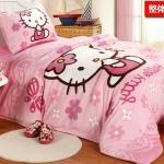 [Preorder] ผ้าปูที่นอนเตียงเดี่ยว (ไซส์ 3.3 ฟุต, 4 ฟุต หรือ 4.5 ฟุต) ลาย Hello Kitty สีชมพู Cartoon coral velvet three-piece children's bed dormitory bed linen products