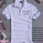 เสื้อโปโลแขนสั้น Smile Milk สีขาว Slim spike simple letter of the 2012 men's fashion POLO shirt, POLO shirt men - Lifestyle