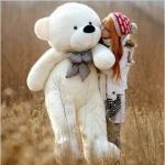 ตุ๊กตาหมียิ้มผูกโบว์ Teddy 1.8 เมตร สีขาว ตุ๊กตาตัวใหญ่น่ารักน่ากอด