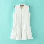 [Preorder] เสื้อแจ๊กเก็ตแฟชั่นแขนกุดสไตล์ยุโรป สีขาว (ไซส์ S M L) 2015 spring new European style fashion ladies skirt zipper hem small collar vest coat female