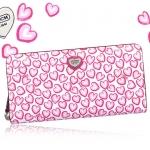 ❤❤ พร้อมส่งค่ะ ❤❤ กระเป๋าสตางค์ Coach รุ่น Heart Print Accordion Zip Around Wallet  รูปหัวใจสีชมพูหวานๆ