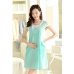 [Preorder] ชุดคลุมท้องสำหรับว่าที่คุณแม่ประดับโบว์ สีเขียว Cotton skirt pregnant women dress blue bow Maternity leave two short-sleeved summer Korean