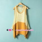 เสื้อแฟชั่นแขนกุดประดับลูกไม้สีเหลือง Summer New Korea lace stitching the sleeveless personalized t-shirt fashion irregular hem t-shirt women
