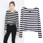 [Preorder] เสื้อแฟชั่นแขนยาวสไตล์ยุโรปลายขวาง สีขาวดำ 2014 spring and summer new European style zara @ T-shirt with long sleeve pullover bottoming shirt striped blouses