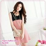 [Preorder]เดรสทำงานแฟชั่นแขนกุดสีชมพู The new Korean sleeveless stitching dresses ladies dress