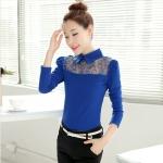 [Preorder] เสื้อแฟชั่นแขนยาวปกเชิ๊ตฉลุลาย สีน้ำเงิน (ไซส์ S M L XL 2XL) 2016 Hitz temperament doll collar long-sleeved lace shirt shirt shirt blouses