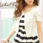 เสื้อคลุมแขนสั้นดอกกุหลาบประดับไข่มุกสีขาว new summer rose lovers pearl collar of roses decorated with short-sleeved jacket shawl (Preorder)