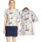 [Preorder] เสื้อแฟชั่นแขนสั้นสไตล์ยุโรป ลายดอกไม้ (ไซส์ S M L) 2014 summer new European style sweet digital printing plant flowers and female short-sleeved t-shirt Slim bottoming shirt