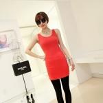 [Preorder] เดรสแฟชั่นแขนกุดสำหรับสาวไซส์เล็ก สีแดง 2013 summer new super wild multicolor Korean Women Long Vest