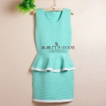 [Preorder] เดรสทำงานแฟชั่นแขนกุด สีเขียว Autumn sexy Slim waist flouncing package hip fake two knitted dress sleeveless vest OL step skirt
