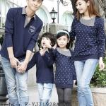 ชุดครอบครัว พ่อแม่ลูก เสื้อครอบครัวแขนยาว ลายห้วใจสีขาว สีน้ำเงิน (ราคา 3 ตัว พ่อ แม่ ลูก) - pre order
