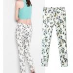 [Preorder] กางเกงขายาวแฟชั่นสไตล์ยุโรป ลายสัปปะรด (ไซส์ S M L XL) ZARA MICN summer 2014 women's European style pineapple new printing Slim thin female trousers casual pants