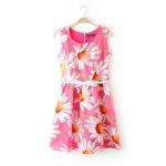 [Preorder] เดรสแฟชั่นแขนกุด ลายดอกไม้บานพร้อมเข็มขัด สีชมพู (ไซส์ S M L) 2014 summer new European style sunflower sunflowers print short-sleeved dress organza skirt