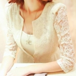 [Preorder] เสื้อคลุมแขนยาวแฟชั่นลูกไม้ 2013 new Autumn sweet lace knitting crochet openwork stitching chiffon suit female Korean autumn tide