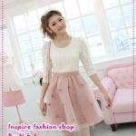 เดรสแขนยาวลูกไม้กระโปรงตาข่ายสีชมพูส้ม Spring and summer of 2012 the new Women Korean version sweet Slim white lace dress Pompon princess dress