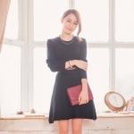 [Preorder] เดรสนิตติ้งแฟชั่นแขนยาวกระโปรงบาน สีดำ Pure wool knit dress waist umbrella swing